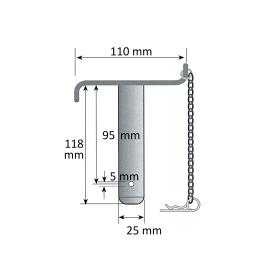 Oberlenkerbolzen - Sicherungsbolzen Kat. 2 Ø 25mm - komplett mit Kette und Federstecker