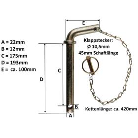 Unterlenkerbolzen Sicherungsbolzen Kat 1  Ø 22 mm Kupplungsbolzen