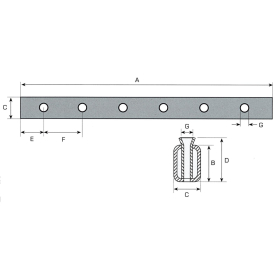 Tine carrier for 7 cone sleeves - 1.200mm long