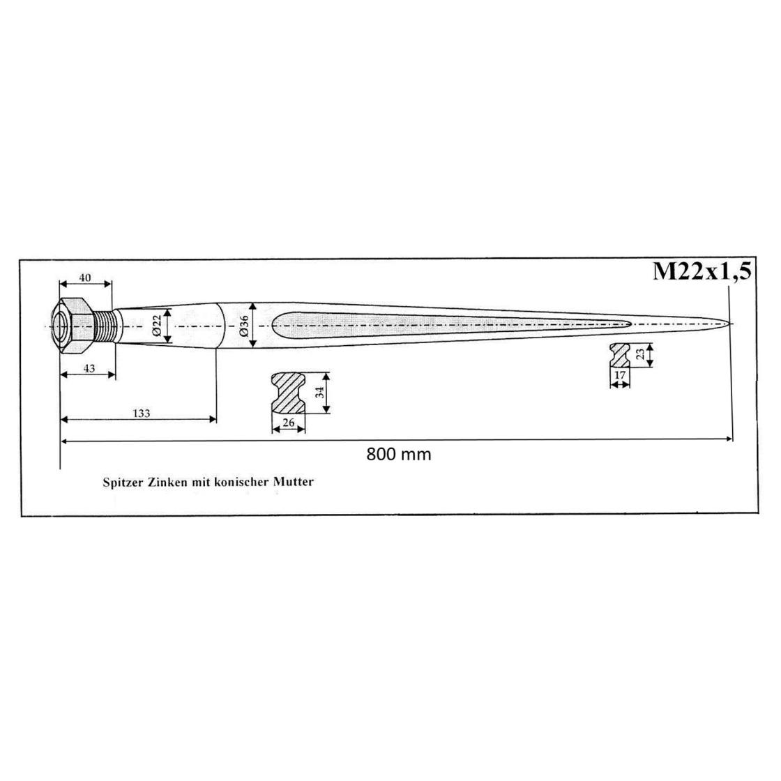 Frontladerzinken - 800mm lang, 14,65 €