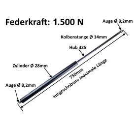 Gasdruckdämpfer in der Stärke 1500 Newton für...