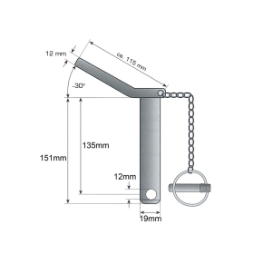 Upper link pin - safety pin cat. 1 Ø 19mm - 135/151mm - compl. with chain and linch pin