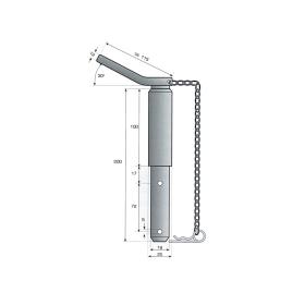 Oberlenkerbolzen - Sicherungsbolzen - universal Kat. 1-2 Ø 19-25mm - komplett mit Kette und Federstecker