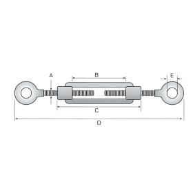 M  8 x 110 mm Spannschloss Öse - Öse