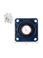 UCF 203 - 4 hole flange bearing for 17 mm shaft