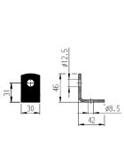 AL-KO screw-on mounting bracket, angle for push-fit support 46 x 42