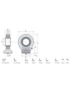 WAMO rod end GE20 20mm weld-on eye Weld-on eye Hydraulic cylinder