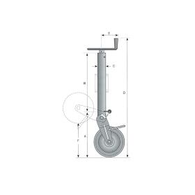 Stützrad 1.000 kg halbautomatisch mit Federverriegelung inkl. Montageplatte