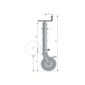 Simol Stützrad 1.500 kg halbautomatisch mit Federverriegelung inkl. Montageplatte