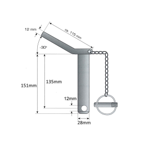 Lower link pin - safety pin cat. 2 Ø 28mm - 135/151mm - compl. with chain and linch pin