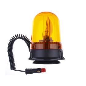 gelbe Rundumleuchte 24 Volt und 70 Watt mit Magnetfuss und Spiralkabel mit KFZ-Unversalstecker.