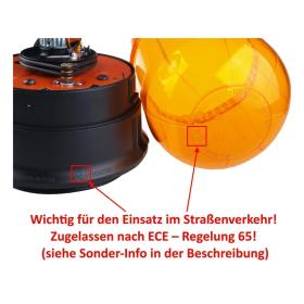 Rotating beacon 12 V 55 Watt - impact resistant hood