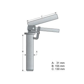 Anhängesicherungsbolzen mit Federgriff Ø = 31mm  L =155mm, für Anhängerkupplung