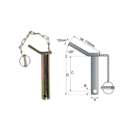 Sicherungsbolzen Ø 16mm Länge 450 mm mit Kette + Klappstecker