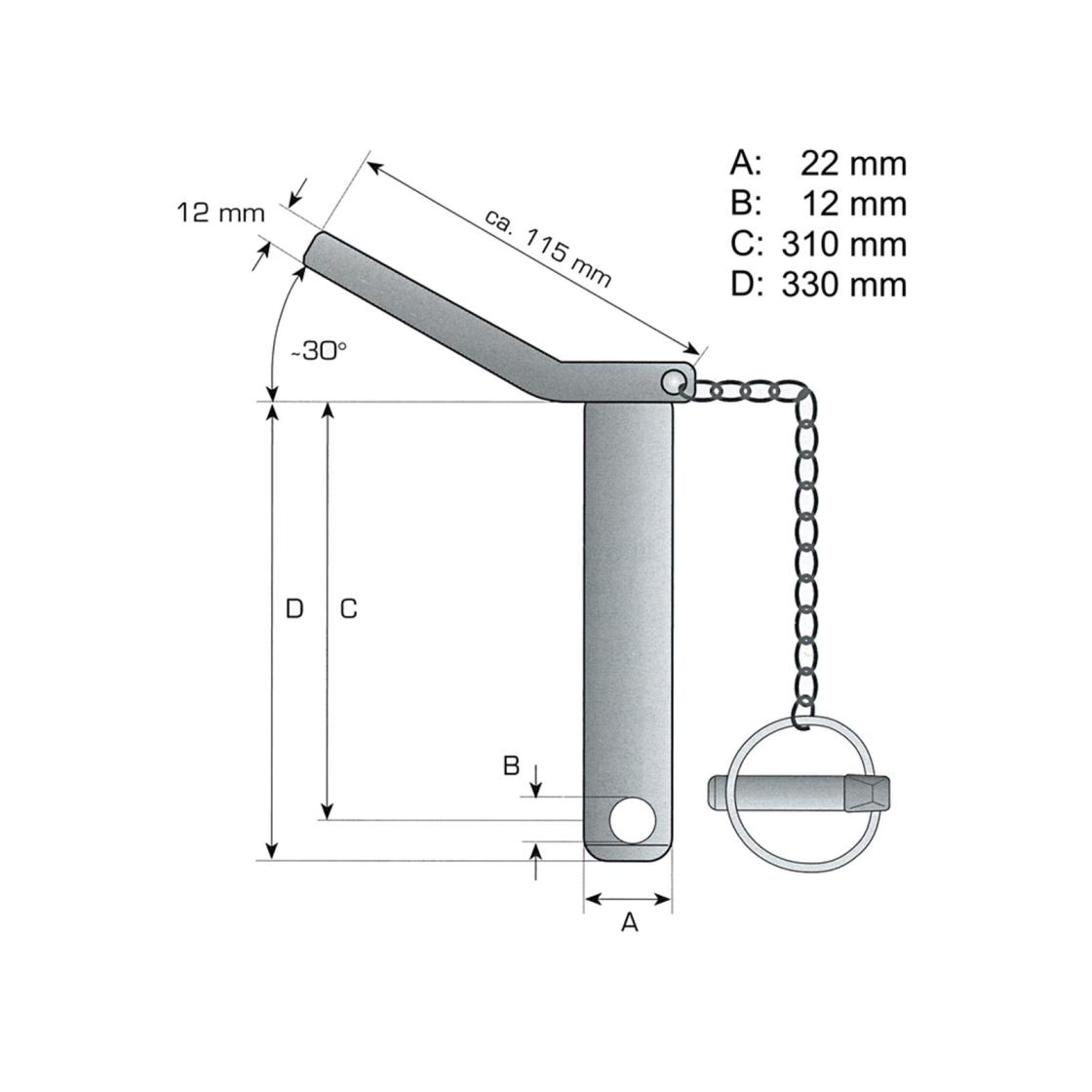 Oberlenker Sicherungsbolzen Unterlenker Stufenbolzen Kat.1//2 m Klappstecker