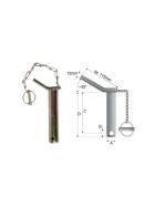 Sicherungsbolzen Ø 22 mm Länge 310 mm mit Kette + Klappstecker