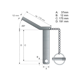 Lower link pin - safety pin cat. 3 Ø 37mm - 175/191mm - compl. with chain and linch pin