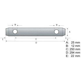 Upper link pin cat. 2 incl. 2x linch pin 11mm