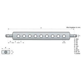 Ackerschiene Kat. 2 960mm 7 Löcher