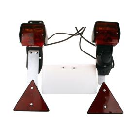 Dreifunktions-Kabelleuchte mit Steckdose u. Schlagschutz