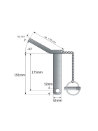 Upper link pin - safety pin cat. 3 Ø 32mm - 175/191mm - compl. with chain and linch pin