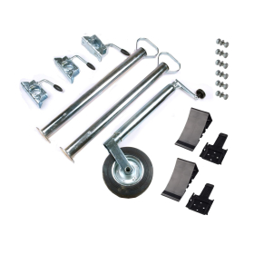 Car trailer accessory set: support wheel, supports, clamp...