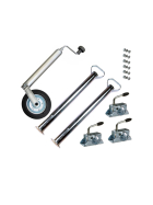 Car trailer accessory set: support wheel, supports, clamp incl. fixing material