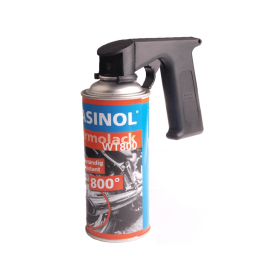 Universal spray can attachment made of black plastic
