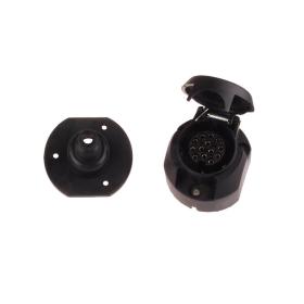 black plastic socket 13 poles with 12 V including rubber...