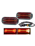 LED Rückleuchten im Set mit einem 5 Meter langem Kabel mit einem 13 poligen Stecker und Bajonettanschluss. Geeignet für 12V und 24V.