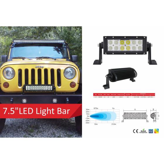 7,5 Zoll LED Lichleiste mit 12 Stück 3 Watt LED's und 10-30V.