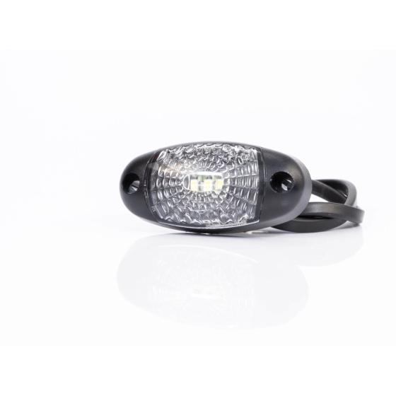 ovale LED Begrenzungsleuchten in weiß 12-36V mit Kabelanschluss.