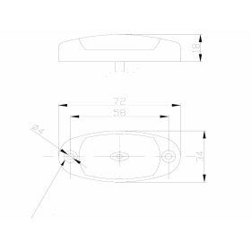 LED Positionsleuchte weiß 12-36V oval mit Kabelanschluss