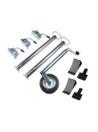 Trailer accessories set - 10 pieces - support wheel, supports 700 mm, clamp, chocks and holder (black)