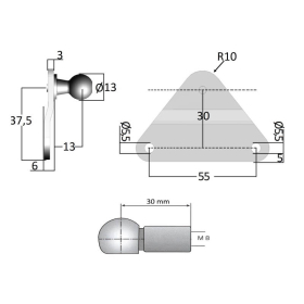 Angle joint M8 with side fitting