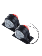 short pre-wired LED clearance light with red and white disc for trailers, trucks or buses with 12 to 24 Volt.