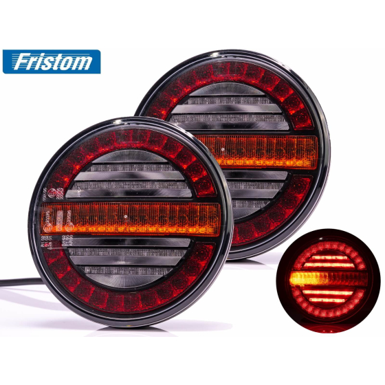 LED tail lights in a set with a 5 meter long cable with a 13 pin plug and bayonet connection, suitable for 12V and 24V.