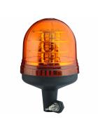 gelbe Rundumleuchte mit 18 LED's, Einfachblitz und einem flexiblem Fuss aus Kunststoff.