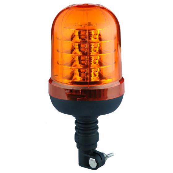 gelbe Rundumleuchte mit 24 LED's, Einfachblitz und einem flexiblem Fuss aus Kunststoff.