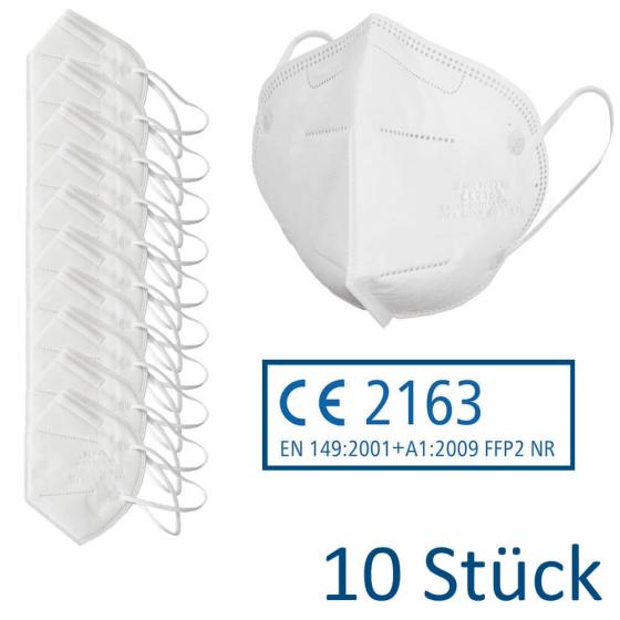 FFP2 Atemschutzmaske CE2163 nach EN149:2001+A1:2009, gefaltet in weiss