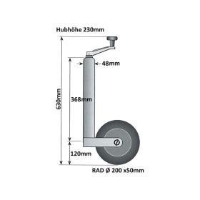 PKW-Anhänger Zubehörset: Stützrad, Stützen 700 mm, Klemmhalter, Keile inkl. Halter, Kastensicherung, Schloss und Adapter inkl. Befestigungsmaterial