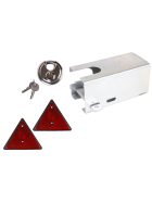 Galvanized anti-theft device, incl. discus lock and 2 triangular reflectors
