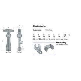 2 Haubenhalter mit Gegenhalter - mittellang 120mm