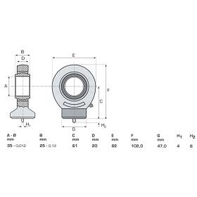 Gelenkkopf GE35 mit Nachschmierung - Ø 35mm