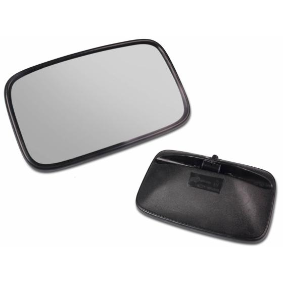 Universal einsetzbarer Rückspiegel mit den Abmessungen 375x185mm und einer Metallhalterung und gültiger E-Zulassung.