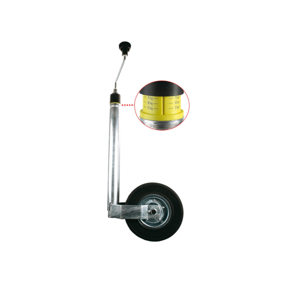 galvanised support wheel with drawbar load indicator 150 kg load capacity