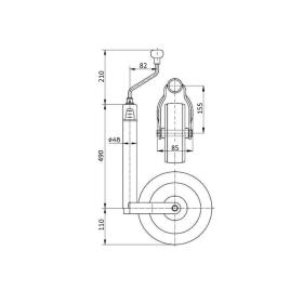 Support wheel with drawbar load indicator Load capacity 150 kg